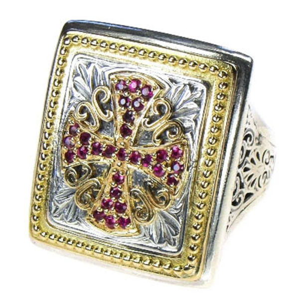 Gerochristo Solid 18K Gold, Sterling Silver & Rubies Medieval Maltese Cross Ring