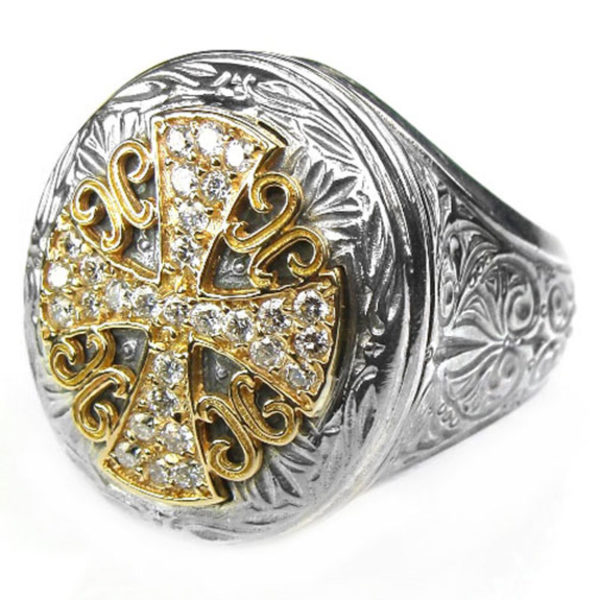 Gerochristo 18K Gold, Silver & Diamonds - Large Cross Ring