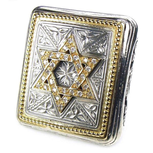 Gerochristo 18K Gold, Silver & Diamonds - Star of David -Extra Large Ring
