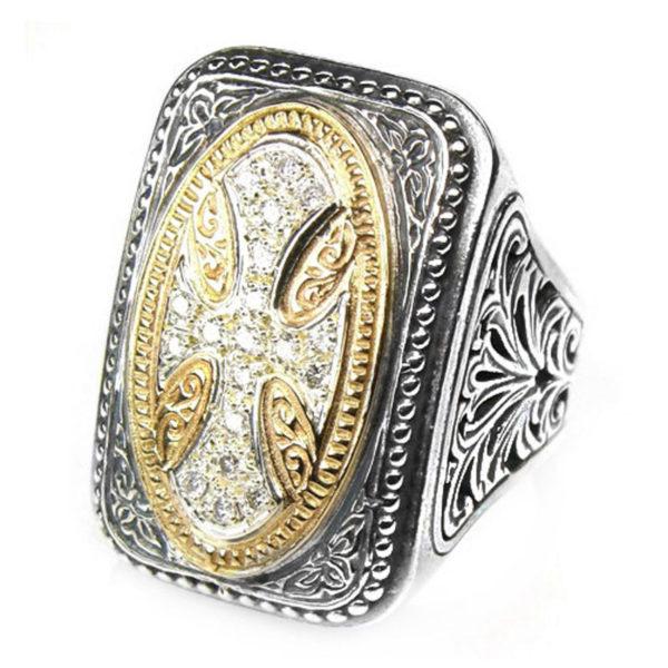 Gerochristo 18K Gold, Silver & Diamonds - Large Cross Ring
