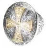 Gerochristo Solid 18K Gold & Silver Medieval Byzantine Cross Ring