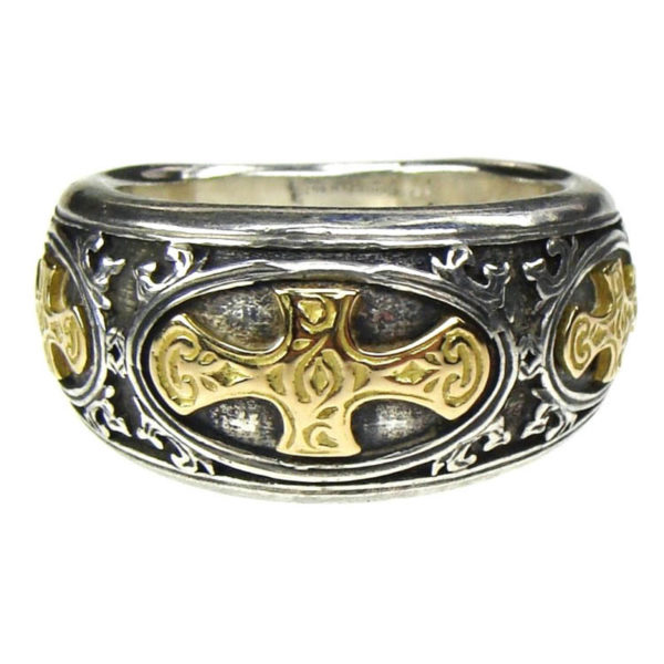 Gerochristo Solid 18K Gold & Sterling Silver Medieval Crosses Band Ring