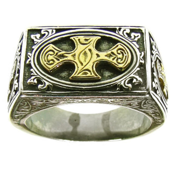 Gerochristo Solid 18K Gold & Silver Medieval Crosses Ring