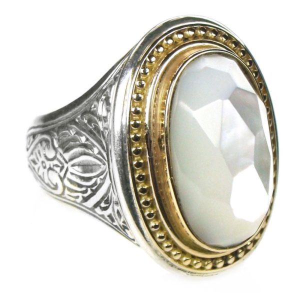 Gerochristo Solid 18K Gold, Silver & Mother of Pearl - Medieval Byzantine Ring
