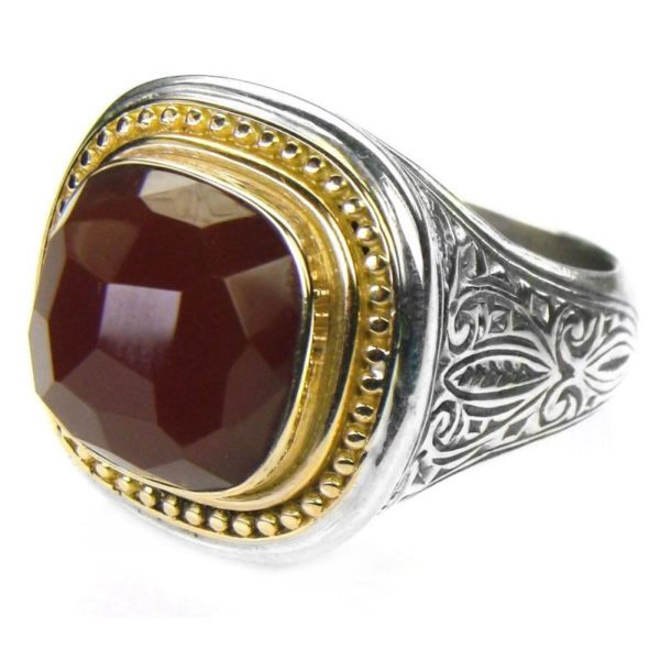 Gerochristo Solid 18K Gold, Silver & Carnelian - Medieval Byzantine Ring