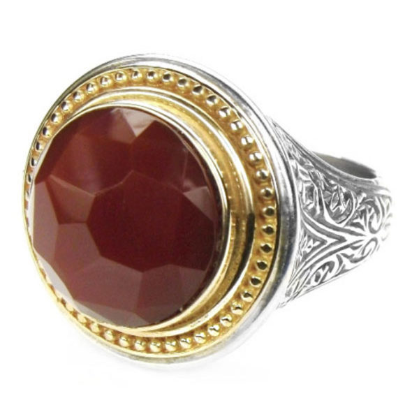 Gerochristo Solid 18K Gold, Silver & Faceted Carnelian Medieval Byzantine Ring