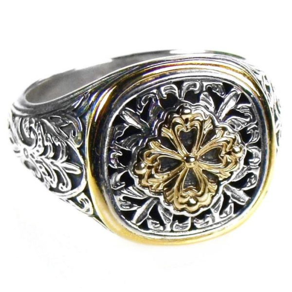Solid 18K Gold & Silver Medieval Byzantine Ornate Ring
