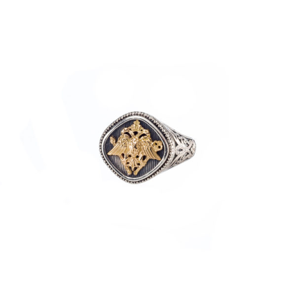 Gerochristo Double Headed Eagle - Byzantine 18K Gold & Silver Ring