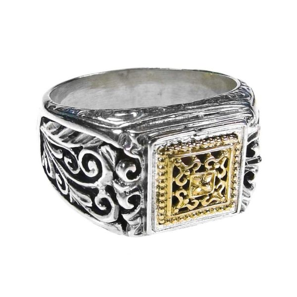 Solid 18K Gold & Silver Medieval-Byzantine Filigree Band Ring