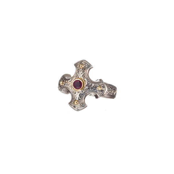 Gerochristo Solid 18K Gold, Silver & Ruby - Medieval-Byzantine Cross Ring