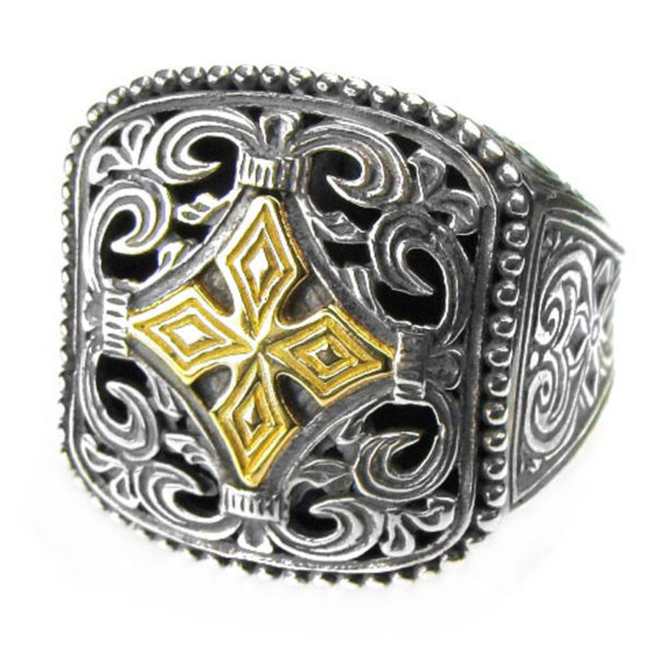 Gerochristo Solid 18K Gold & Sterling Silver Medieval Cross Ring