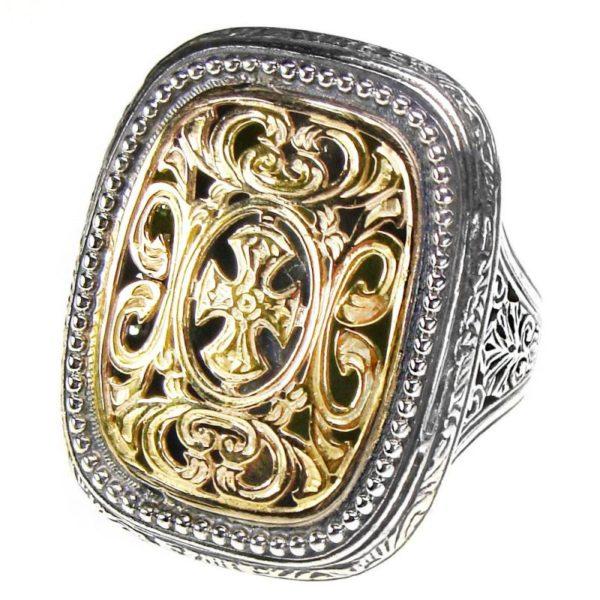Gerochristo Solid 18K Gold & Sterling Silver Medieval-Byzantine Cross Ring