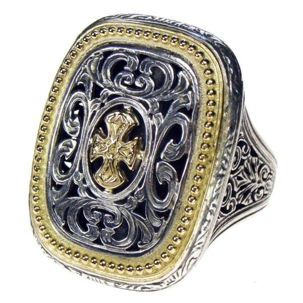 Gerochristo Maltese Cross, Solid 18K Gold & Sterling Silver Medieval Ring