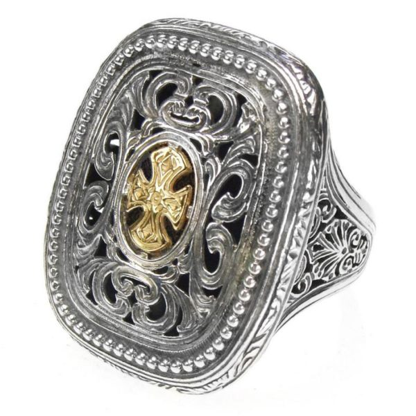 Gerochristo Solid 18K Gold & Sterling Silver Medieval-Byzantine Cross Ring