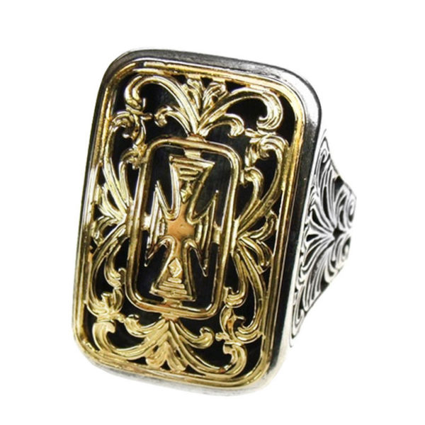 Solid 18K Gold & Sterling Silver Large Cross Ring