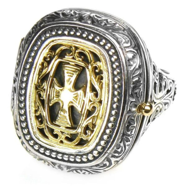 Gerochristo Solid 18K Gold & Silver Medieval Byzantine Poison Ring