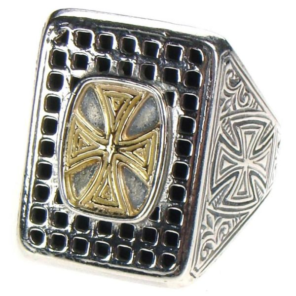 Gerochristo Solid 18K Gold & Sterling Silver Medieval Cross Ring