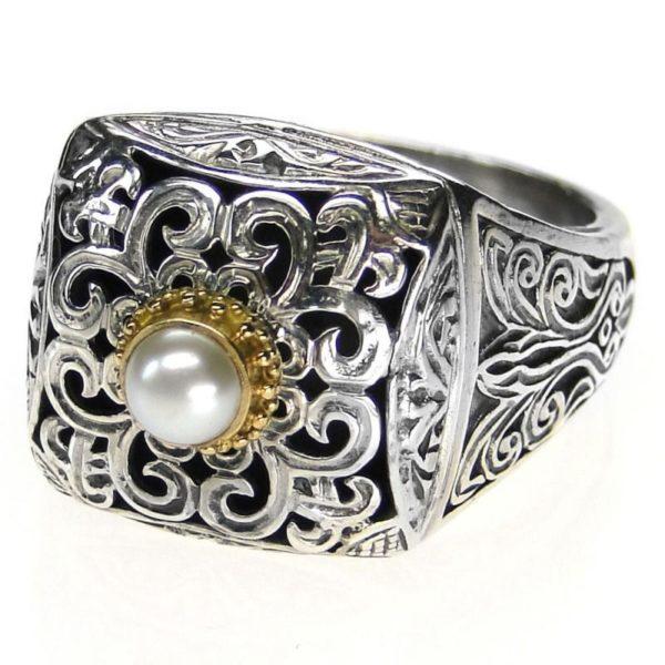 Gerochristo 18K Gold, Silver & Pearl - Medieval-Byzantine Ring