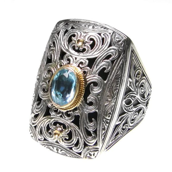 Gerochristo Solid 18K Gold, Silver & Stone - Medieval Byzantine Large Ring
