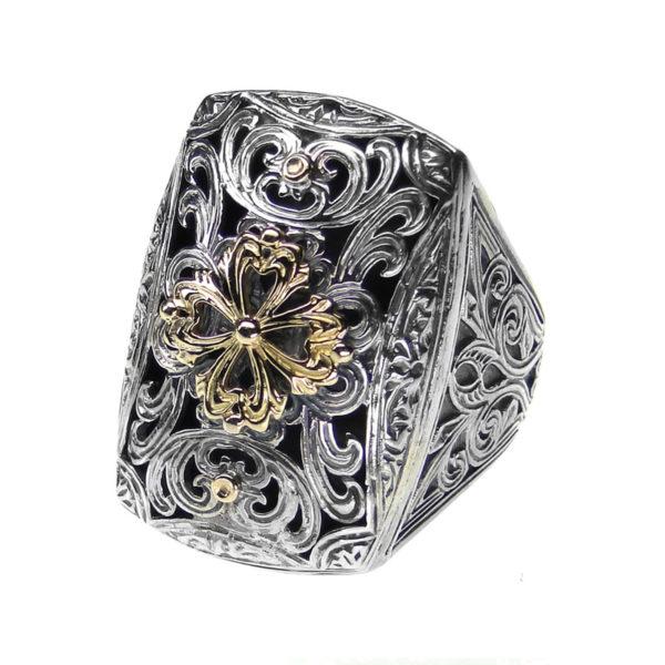 Gerochristo Solid 18K Gold & Silver Medieval-Byzantine Ornate Large Ring