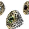 Solid 18K Gold and Silver Multi Stone Medieval-Byzantine Large Ring