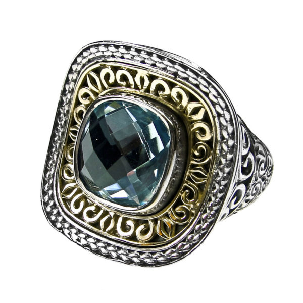 Solid 18K Gold & Sterling Silver - Medieval-Byzantine Single Stone Ring