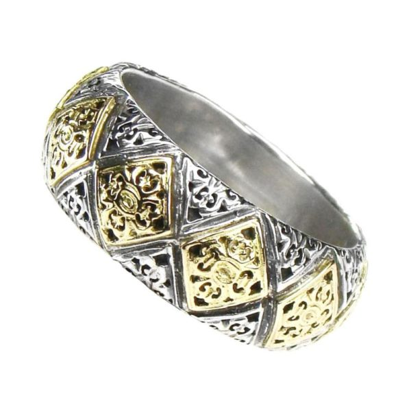 Gerochristo Solid 18K Gold & Sterling Silver Medieval-Byzantine Band Ring