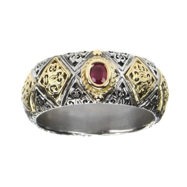 Solid 18K Gold & Sterling Silver Medieval-Byzantine Band Ring