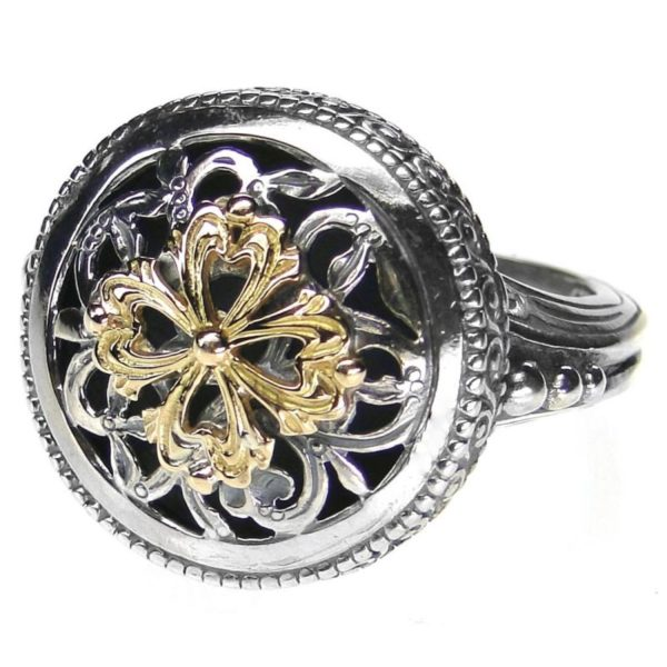 Gerochristo Solid 18K Gold & Silver Medieval Byzantine Floral Cross Ring