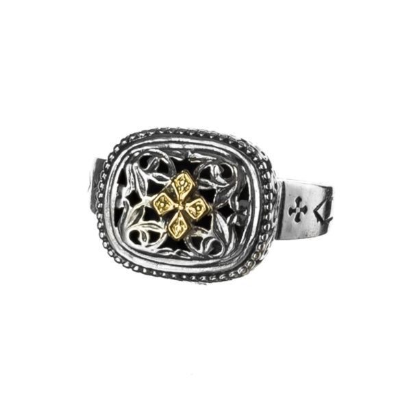 Solid 18K Gold & Sterling Silver Medieval Cross Ring
