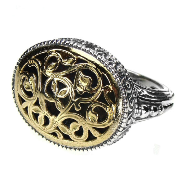 Solid 18K Gold & Silver Medieval Byzantine Ring