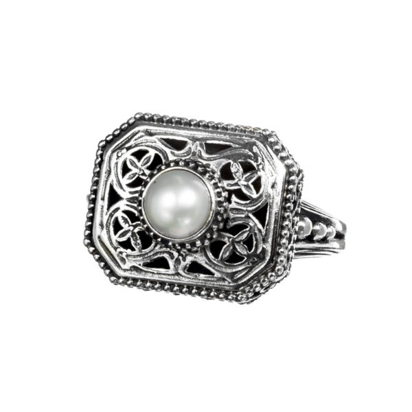 Sterling Silver & Pearl Medieval-Byzantine Single Stone Ring