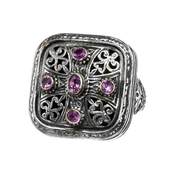 Sterling Silver & Zircon - Medieval Byzantine Cross Ring