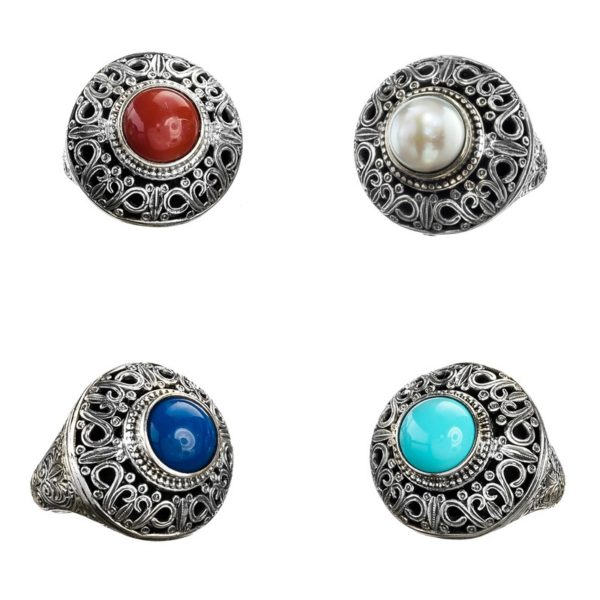 Gerochristo Sterling Silver & Stone Medieval-Byzantine Cocktail Ring
