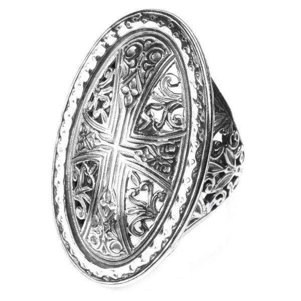 Gerochristo Sterling Silver - Medieval Byzantine Cross Ring