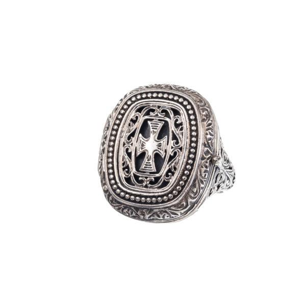 Gerochristo Sterling Silver Medieval Byzantine Cross Poison Ring