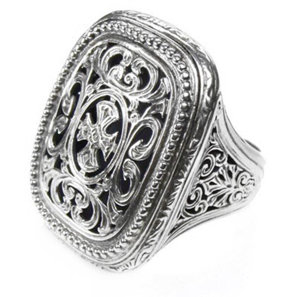 Gerochristo 18K Sterling Silver Medieval-Byzantine Cross Ring