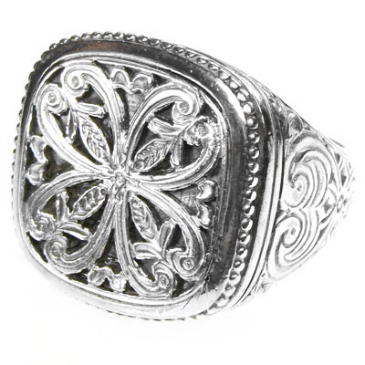 Gerochristo Sterling Silver Medieval Byzantine Large Filigree Ring