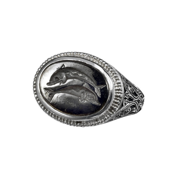 Gerochristo Sterling Silver and Bronze Dolphin Signet Ring