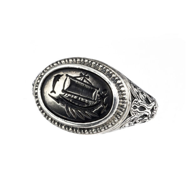 Sterling Silver and Bronze Ancient Trireme Ship Signet Ring