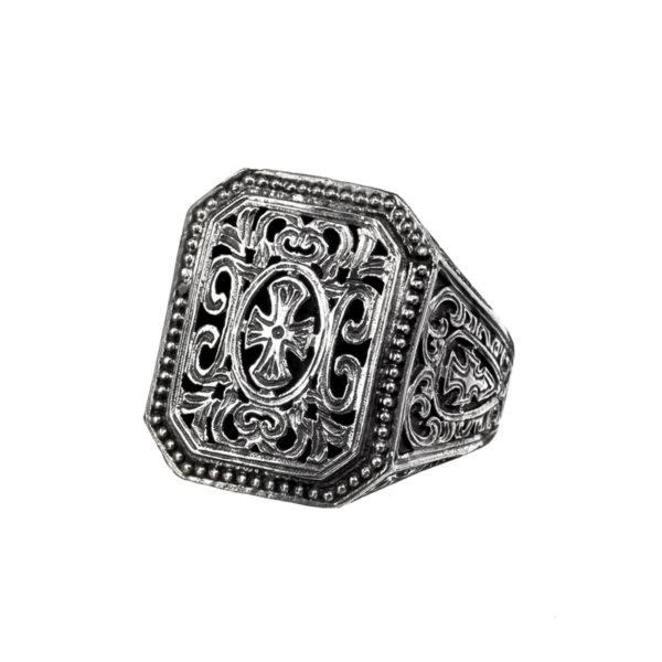 Sterling Silver Medieval Maltese Filigree Cross Ring