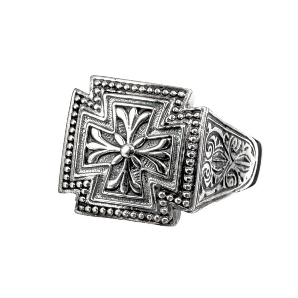 Sterling Silver Medieval Maltese Cross Ring