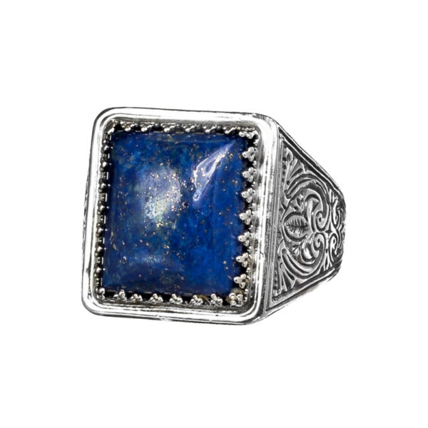 Sterling Silver & Lapis Lazuli Medieval Cocktail Ring