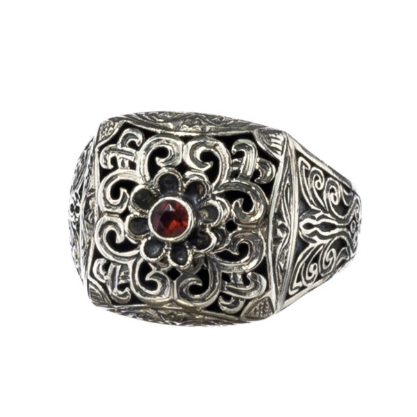Sterling Silver Medieval-Byzantine Single Stone Chevalier Ring
