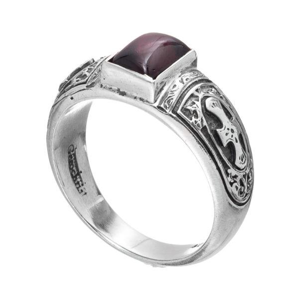 Gerochristo Sterling Silver & Garnet Medieval-Byzantine Band Ring