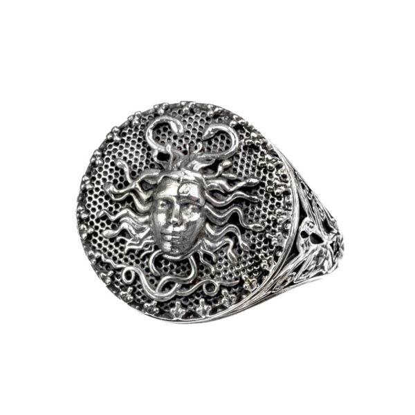 Sterling Silver Medusa Signet Ring
