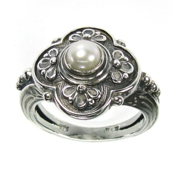 Sterling Silver & Pearl - Medieval-Byzantine Ring
