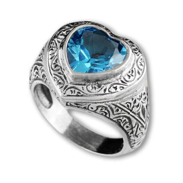 Gerochristo Sterling Silver & Zircon - Heart Ring