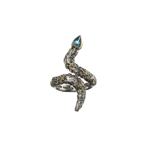 Solid 18K Gold and Silver Single Stone Snake Wrap Ring