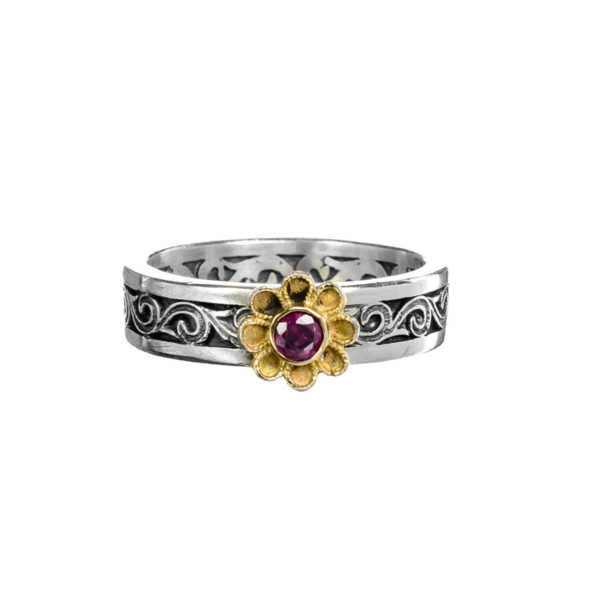 Gerochristo Solid 18K Gold & Silver Medieval-Byzantine Flower Band Ring
